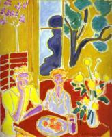 Две девушке на жёлто - красном фоне. 1947. Холст, масло. Фонд Барнса, Линкольнский университет, Мерион, Пенсильвания, США