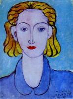 Девушка в голубой блузке (Портрет Лидии Делекторской, помошницы художника). 1939. Холст, масло. Эрмитаж.