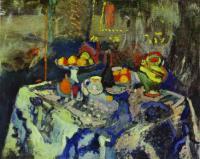 Натюрморт с вазой, бутылкой и фруктами. c. 1903-6. Холст, масло. Эрмитаж.