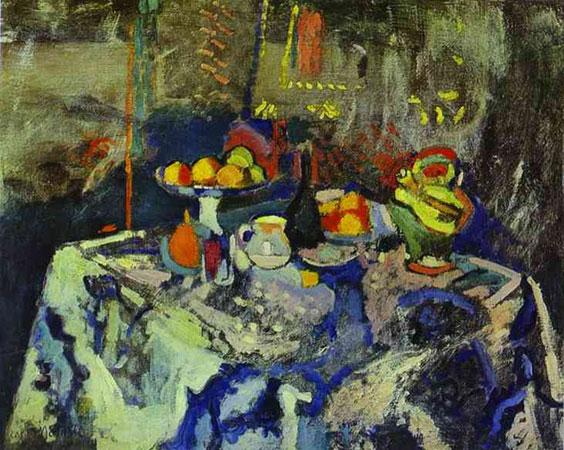 Натюрморт с вазой, бутылкой и фруктами (Анри Матисс)